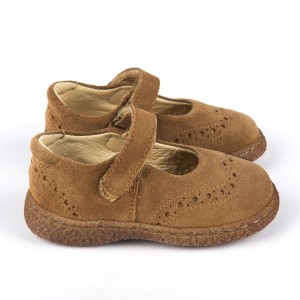 MARY JANES VELCRO STRAP LIGHT BROWN